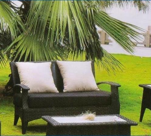 Rattan Outdoor Garden Sofa with Footstool