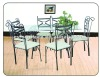 7pcs clear glass dining table and chairs