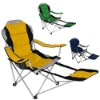 Adjustable folding chair with footrest