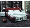Brown leather soft bed A2113
