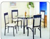 Hot selling! 5pcs clear glass dining table and chairs