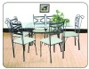 Hot selling! 7pcs clear glass dining table and chairs