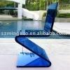Z-shape blue acrylic chair