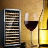 freestanding wine cooler with stainless steel frame