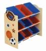 kids toy shelf with 9 bins