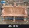 red natual stone carved outdoor garden bench