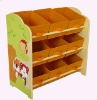 wood toy organizer with 9 fabric bins